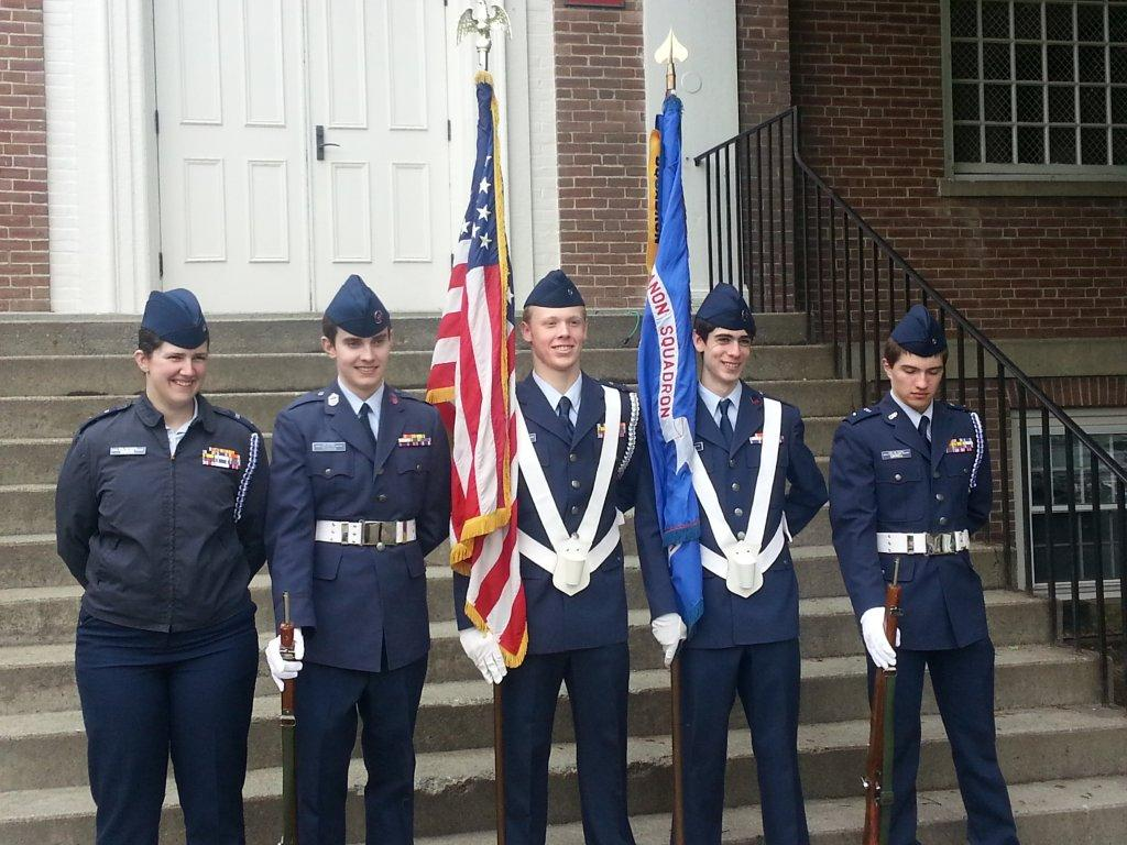 The Lebanon Squadron color guard from left to right: C/Lt Rebakah Martel, C/Smsgt Jonathan Pearson, C/Lt Jonathan Butler, C/Smsgt Jack Heller, and C/Lt Conner Gavell
