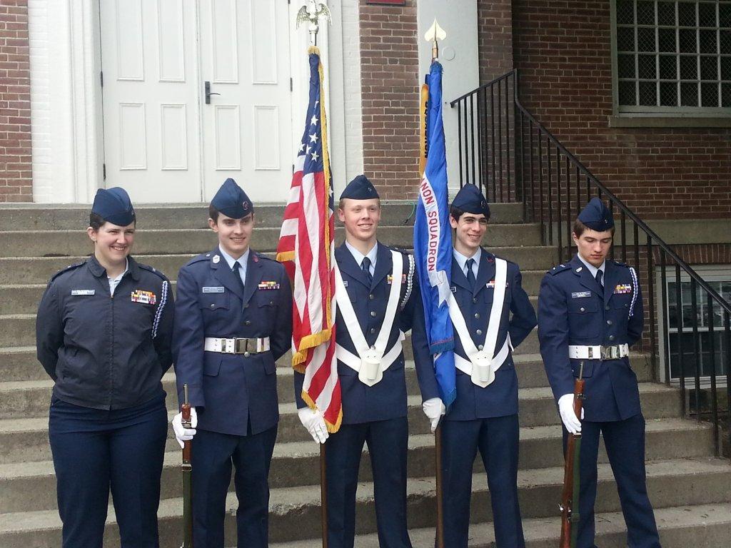 The Lebanon Squadron color guard from left to right: C/Lt Rebakah Martel, C/Smsgt Jonathan Pearson, C/Lt Jonathan Butler, C/Smsgt Jack Heller, and C/Lt Conner Gavell